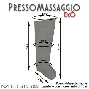 PressoMassaggio®MESIS®EkÓ le misure di ciascun gambale